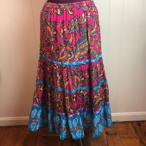 Choices Pink Blue Boho Hippie Broomstick Skirt